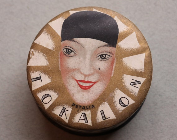 French Tokalon Powder Box with Original Advertisements and Featuring Pierette Design by René Lalique