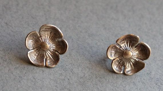 Vintage, Sterling, Floral Screw Back Earrings, Handmade