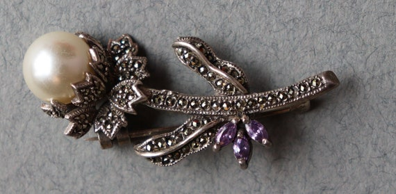 Vintage Murray Chuven Sterling and Marcasite Floral Brooch