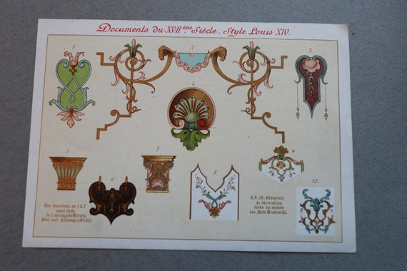 19th Century French Chromolithograph Featuring Style Motifs of Louis XIV, the Sun King
