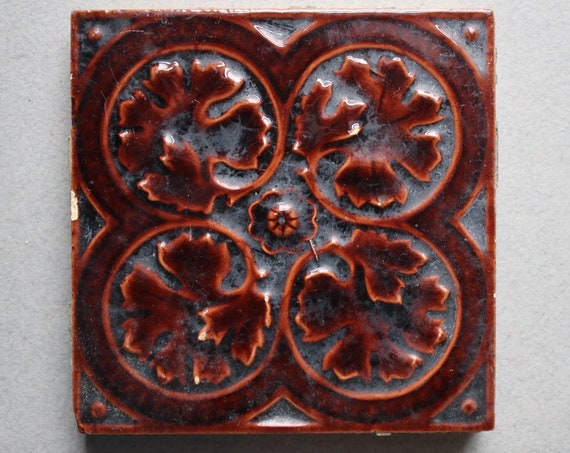 Antique Majolica Tile by Craven Dunnill