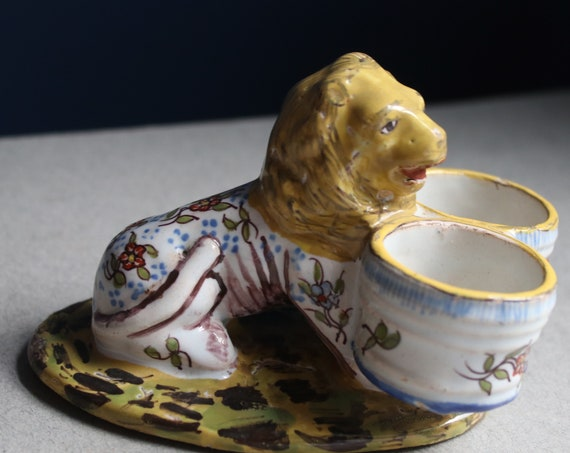 Antique French Faience Lion Salt Cellar