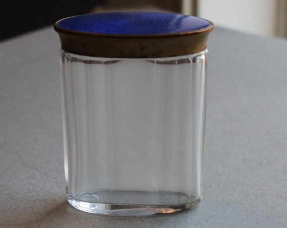 Art Deco, Beveled, Glass Vanity Jar with Guilloche Lid
