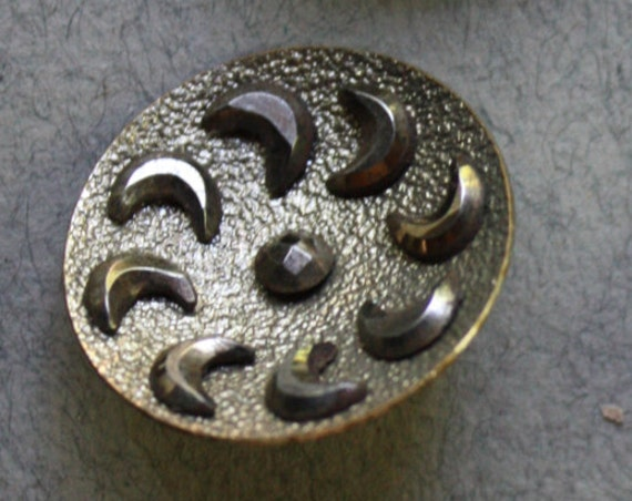 Victorian Era Applied Cut Steel Crescent Moon Metal Buttons