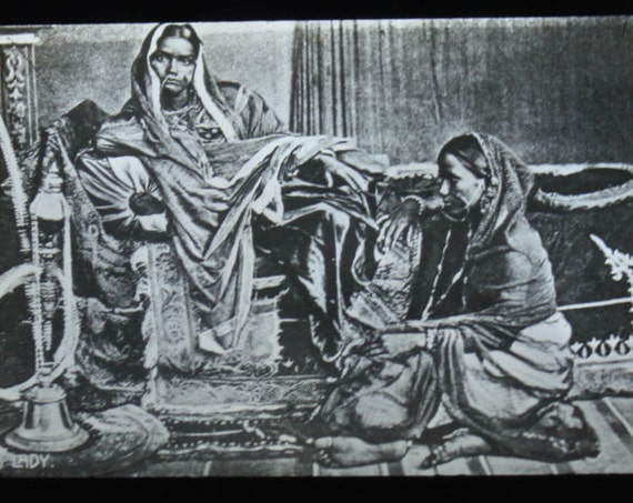 Antique Magic Lantern Slide of Hindu Women by Walter Isaacs