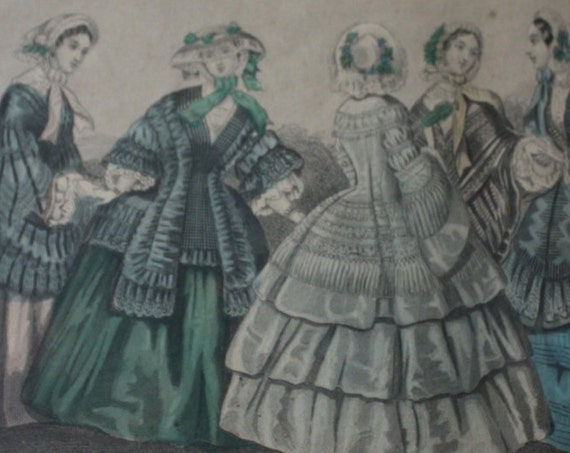 Godey's Unrivaled Colored Fashions Framed Circa 1850s Print