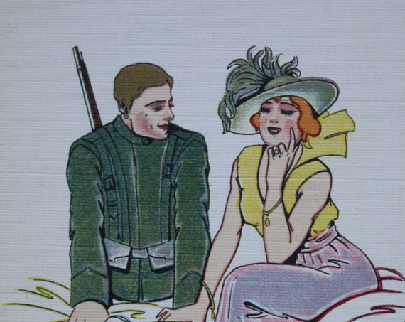 WWI Era Postcard with Soldier, Cupid and Woman