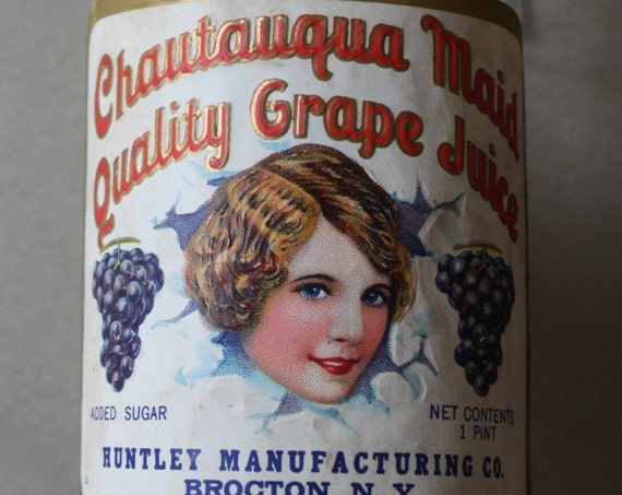 Chautauqua Maid Quality Grape Juice Bottle, Circa 1920s
