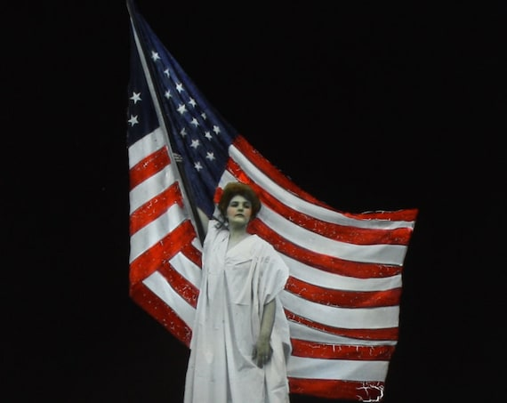 Antique Patriotic Magic Lantern Slide of Woman with American Flag by Scott and Van Altena of NYC