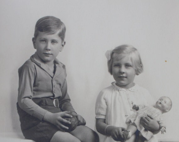 1920s Era Photograph of Brother and Sister with Doll from York, Pennsylvania