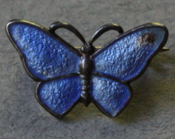 Sterling Silver and Enamel, Volmer Bahner (VB), Blue Butterfly Brooch