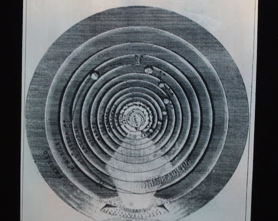 Antique Magic Lantern Slide by James Huntington/Paul Monroe- The Physical, Intellectual and Spiritual World (After Dante)