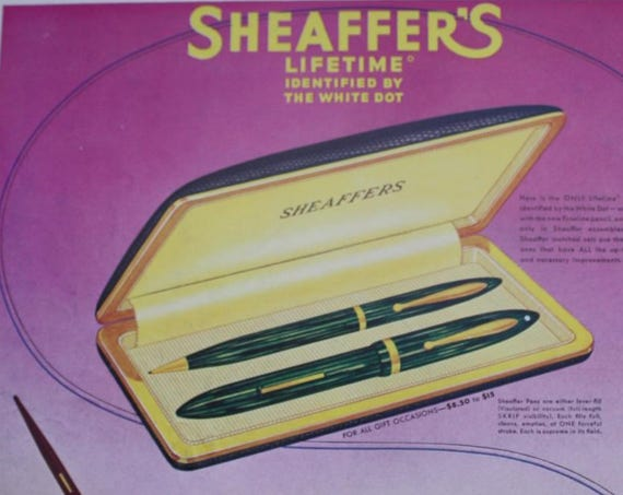 Sheaffer's 1939 Lifetime Fountain Pen Ad/Eleanor Roosevelt Queen's Hostess Life Magazine Cover