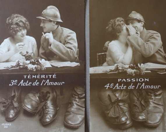 "WWI Era French Postcards Series- Four ""Acte de l'Amour"""