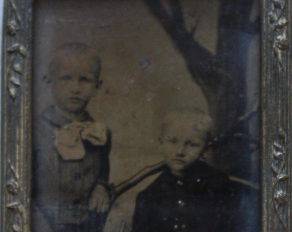 One-Ninth Plate Tintype of Two Brothers, Circa Late 1800s, in Ornate Frame