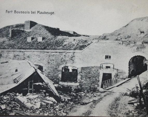 WWI Antique German Postcard of the Destruction of French Fort Boussois de Maubeuge