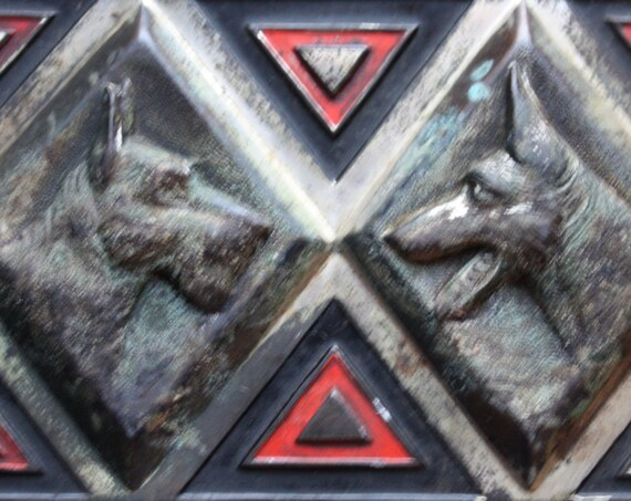 Japanese Metal Cigarette or Trinket Box with Schnauzer and Shepherd