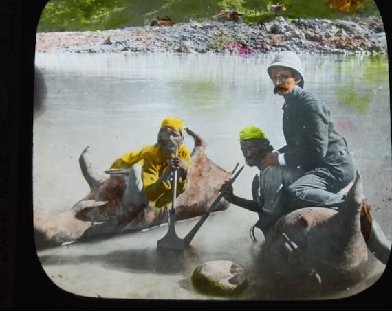 Antique Colored Magic Lantern Slide of Bullock Skin Boat in India by Walter Isaacs of New York