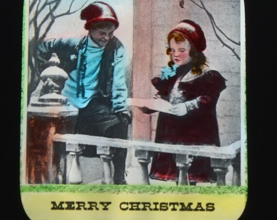 "Antique Magic Lantern Motto Slide- ""Merry Christmas"""