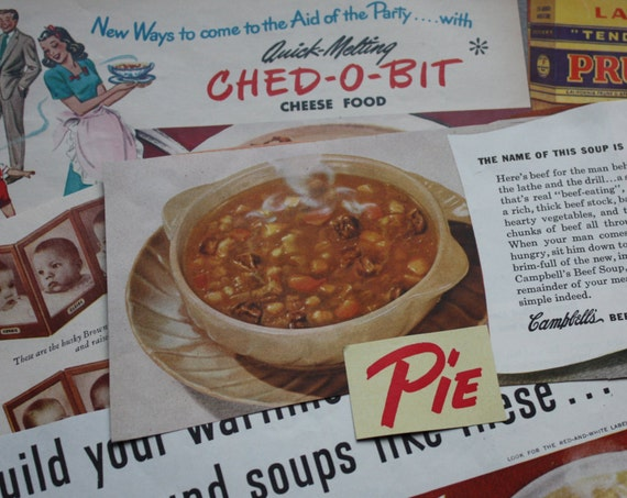 Vintage Ephemera Food and Beverage Paper Pack from 1940s Magazines