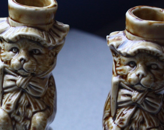 Two European, Ceramic, Cat Candlesticks or Candleholders