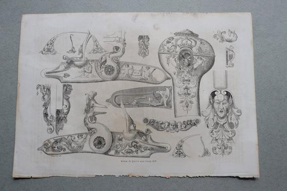 Antique French Engraving of the (Armes de la Guerre) Weapons of War of Louis XIV from Histoire Populaire de La France
