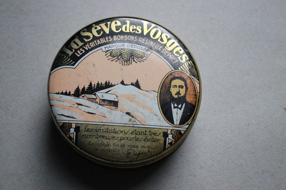 French Père Henri Dépret La Sève des Vosges Bonbon Tin