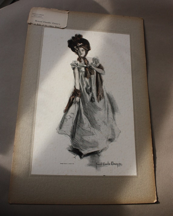 """Edwardian Antique 1905 Collier's Weekly Artist's Proof- Howard Chandler Christy's """"A Belle of the Olden Time"""""""