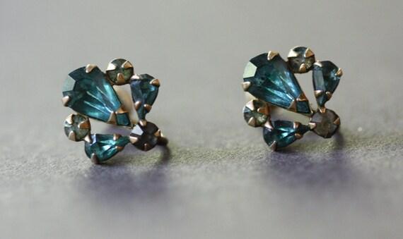 M & S Jewelry Company Screw Back Gold Filled Aquamarine and Rhinestone Earrings