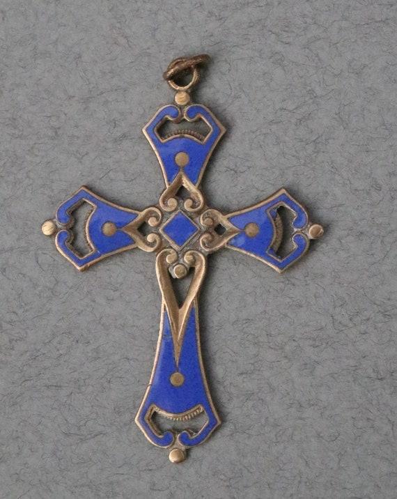 Brass and Blue Enamel Cross