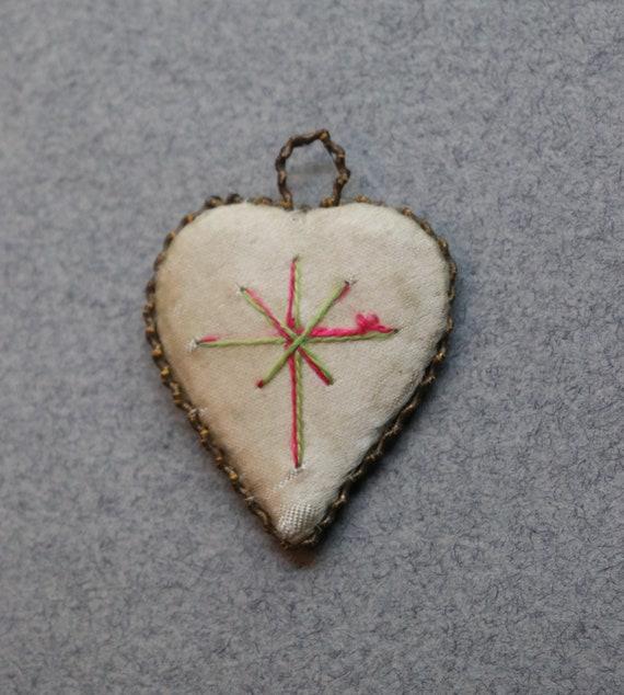 French, Antique, Sacred Heart Scapular