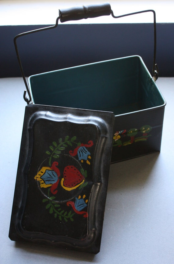 Antique Hand-Painted Toleware Lunch Box
