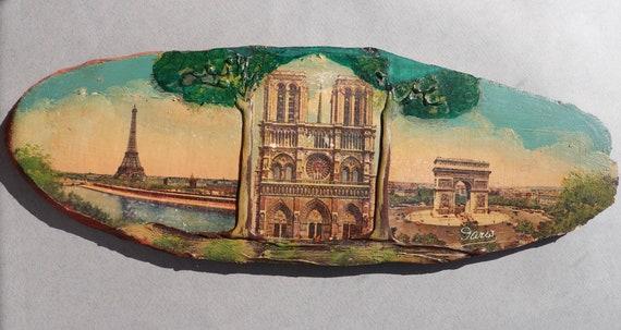 French Souvenir of Paris Depicting the Eiffel Tower, Notre Dame, and the Arc de Triomphe
