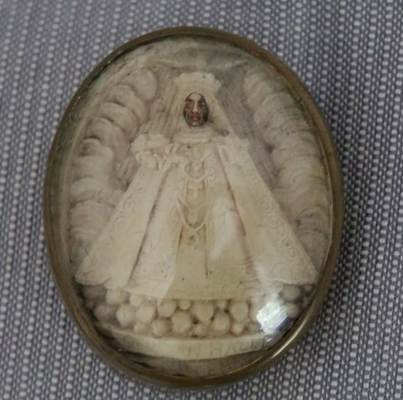 Our Lady, the Black Virgin of Halle, Meerschaum Carving in Glass and Metal Case