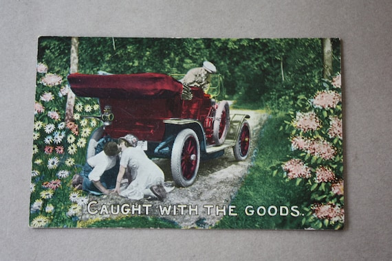 "Antique, Winsch Back, ""Caught with the Goods"" Postcard with Kissing Couple"