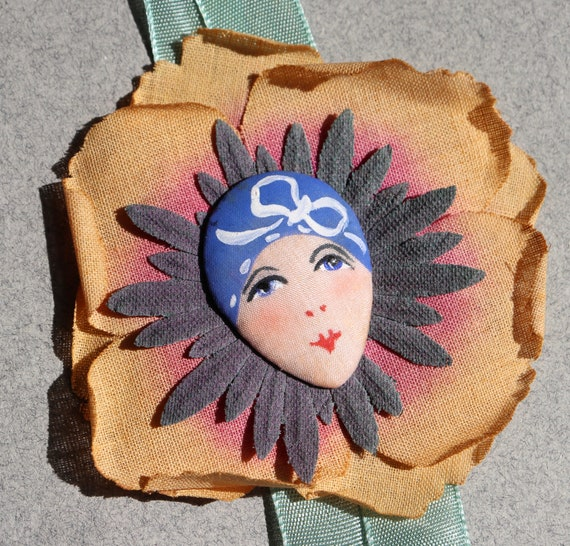 1928 French Flapper Ribbon with Hand-painted Flower and Face