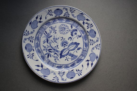Antique Transfer Ware, Staffordshire Plate in Blue Onion