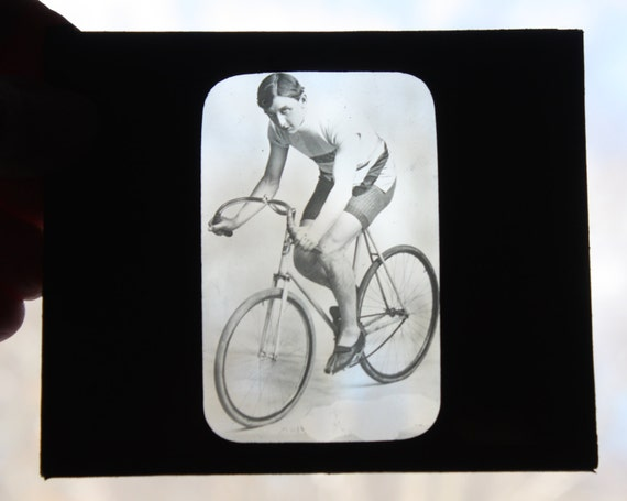 Antique, Rare Magic Lantern Slides of Racing Cyclists