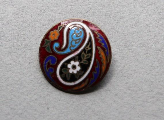 Antique Enameled Champlevé Button from Belgium