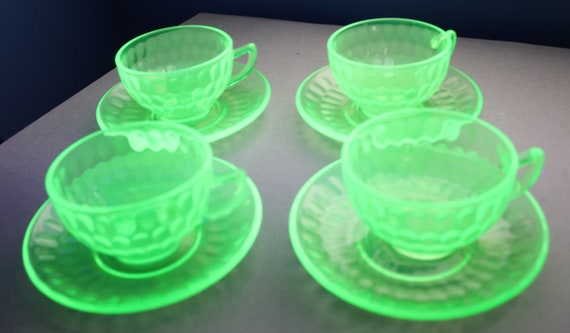 Depression Era Federal Glass Cups and Saucers in Optic Pattern