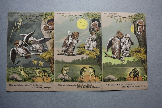 JM Childs & Co Antique Three Panel Folding Trade Cards