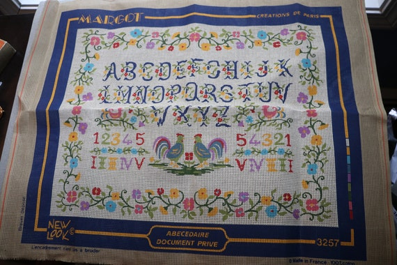 Vintage, French Cross Stitch Fabric with Pre-Printed Pattern by Margot