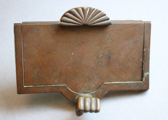 RESERVED for V: Art Deco Brass Door Knocker with Fan Shape and Knocking Hand