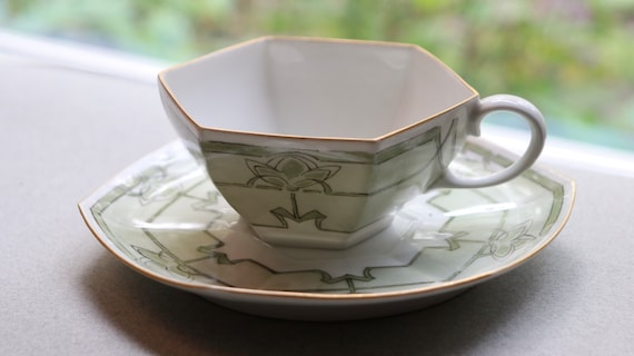 Antique, French, Paroutaud Frères Cup and Saucer from La Seynie Factory in Limoges