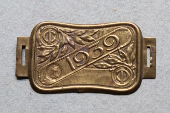 1939 Bicycle Tax Plate/Head Badge