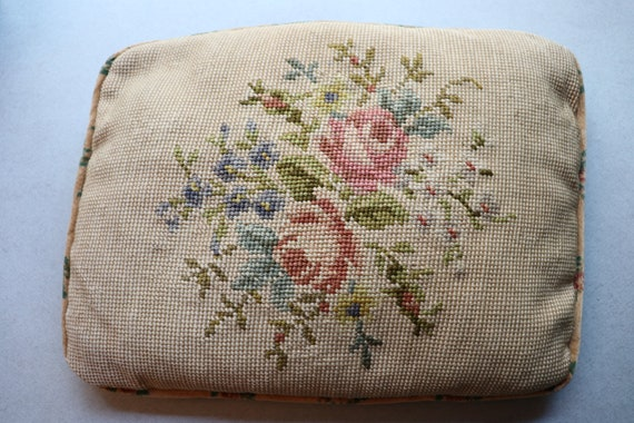 Floral, Cross Stitch Pillow with Velvet Floral Backing