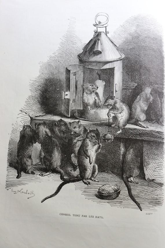 Fables de La Fontaine with Illustrations by Eugène Lambert, French, Antique Book