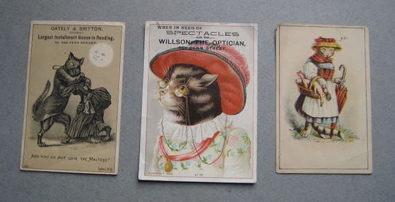 Antique Trade Cards Featuring Cats