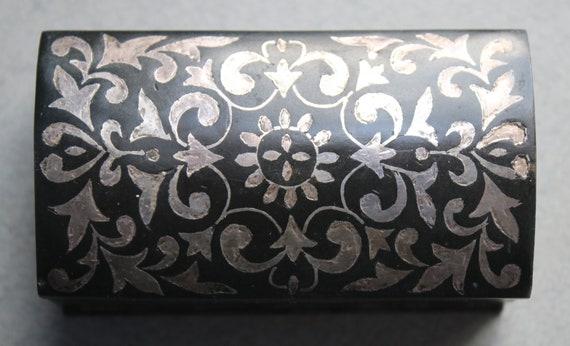 Indian Bidriware Metal Box with Silver Inlay