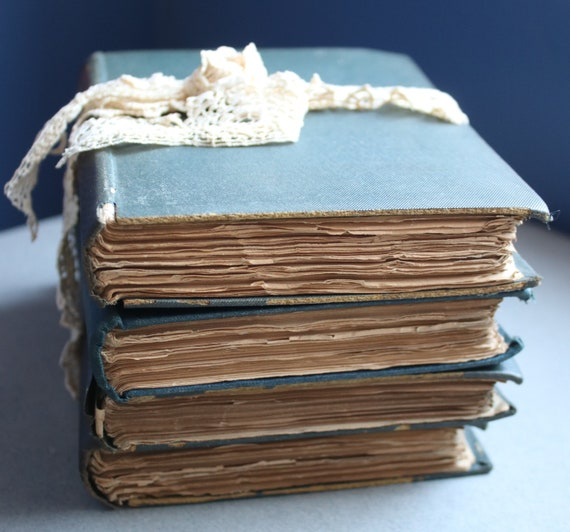 Stack of Antique Books in Blue and Brown